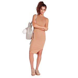 MISSGUIDED | Ribbed Midi Bodycon Dress Camel 8